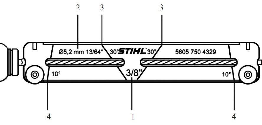 Державка напильника: 1 — шаг цепи в дюймах; 2 — диаметр напильника; 3 — риска для отметки угла заточки 30°;4 — риска для отметки угла заточки 10°