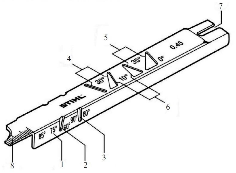 Опиловочный шаблон: 1 — измерительный край 75°; 2 — измерительный край 60°; 3 — измерительный край 80°; 4 — измерительные края для угла заточки 30°; 5 — измерительные края для угла заточки 35°; 6 — измерительные края для угла заточки 10°; 7 — шаблон для измерения высоты ограничителя подачи; 8 — очиститель пазов для измерения глубины паза