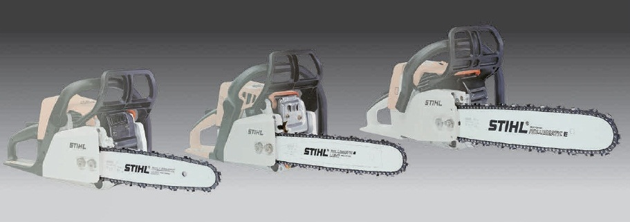Три варианта шин STIHL — Rollomatic Mini, Rollomatic Light, Rollomatic (слева направо)
