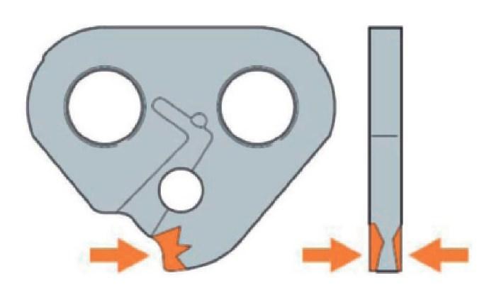 Зарубины на боковых плоскостях ведущих звеньев