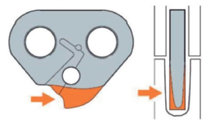 Износ боковых поверхностей ведущих звеньев с заострением концевой части