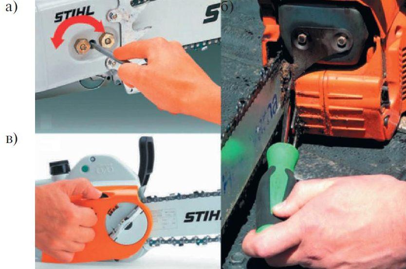Варианты исполнения устройств натяжения цепи