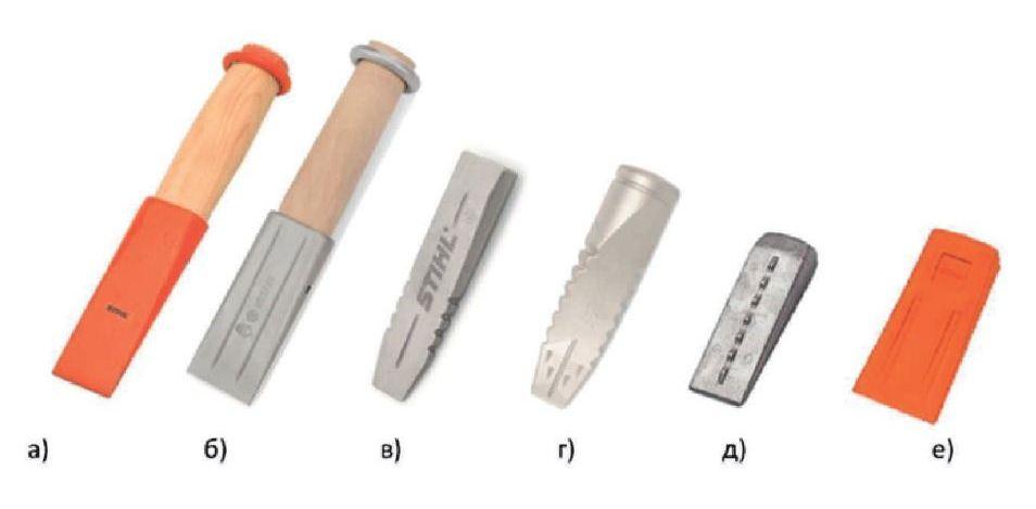 Валочные клинья: а, б — стальной/алюминиевый клин с деревянной ручкой; в — алюминиевый валочный клин; г — алюминиевый клин для колки; д, е — алюминиевый/ полимерный клинья