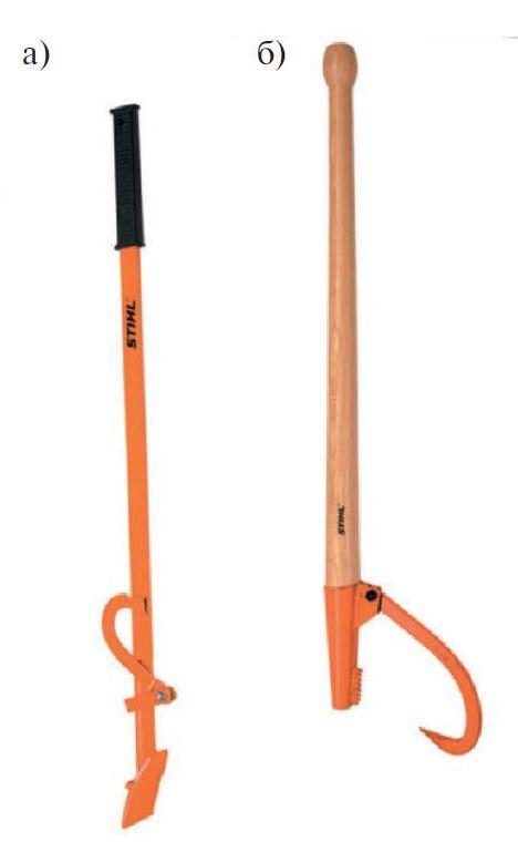 Валочная лопатка (а) и поворотный крюк (б)