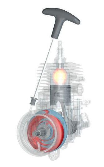Дополни¬тельный пружинный механизм между коленвалом и пусковой рукояткой для комфортного запуска двигателя